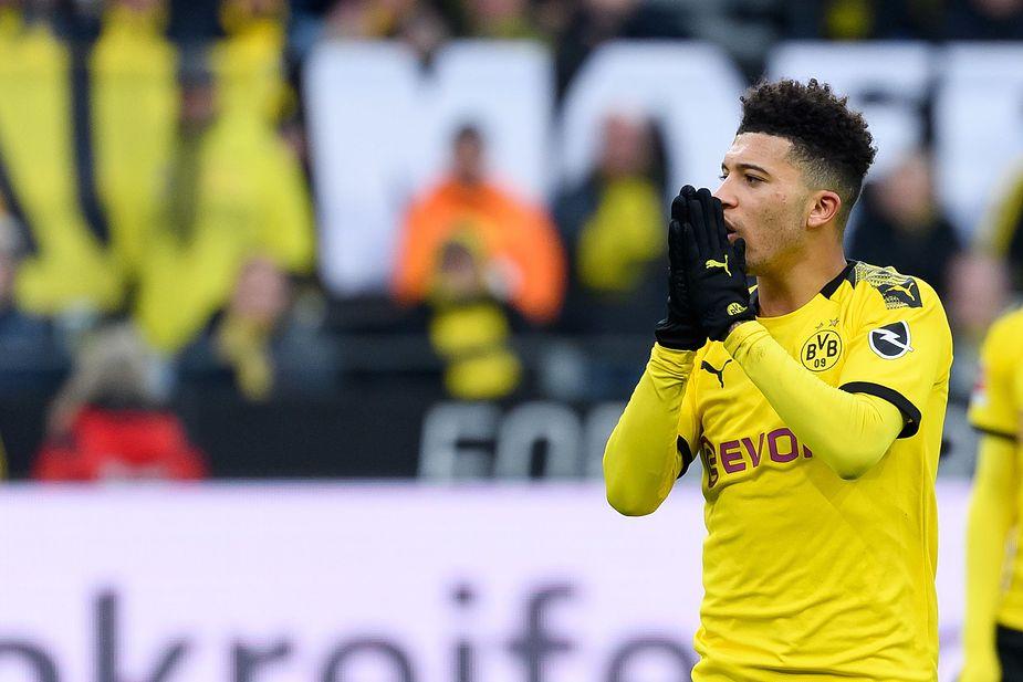 Jadon Sancho playing for Borussia Dortmund