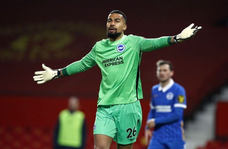 Robert Sanchez playing for Brighton & Hove Albion